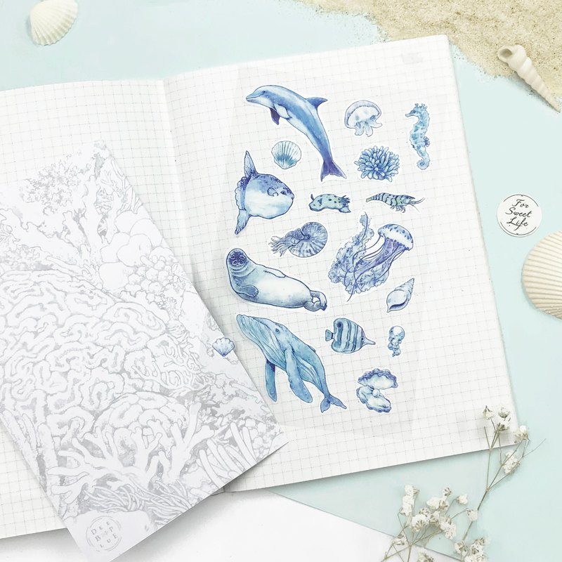 Deep Blue watercolor hand-painted marine life / transparent white ink sticker - white