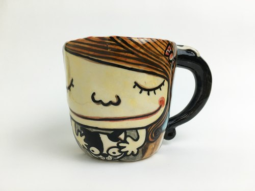 Nice Little Clay handmade mug _ Girl with cat