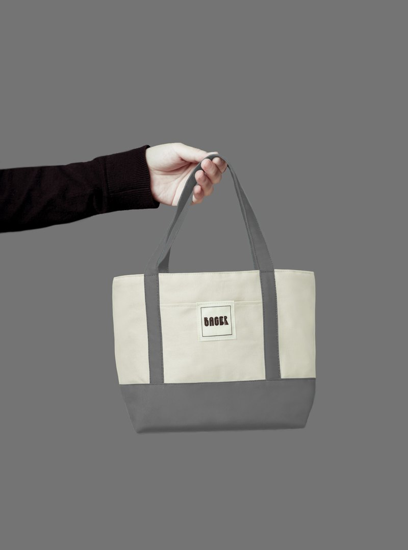 Classic color matching small tote bag / tote bag / lunch bag / beige + gray