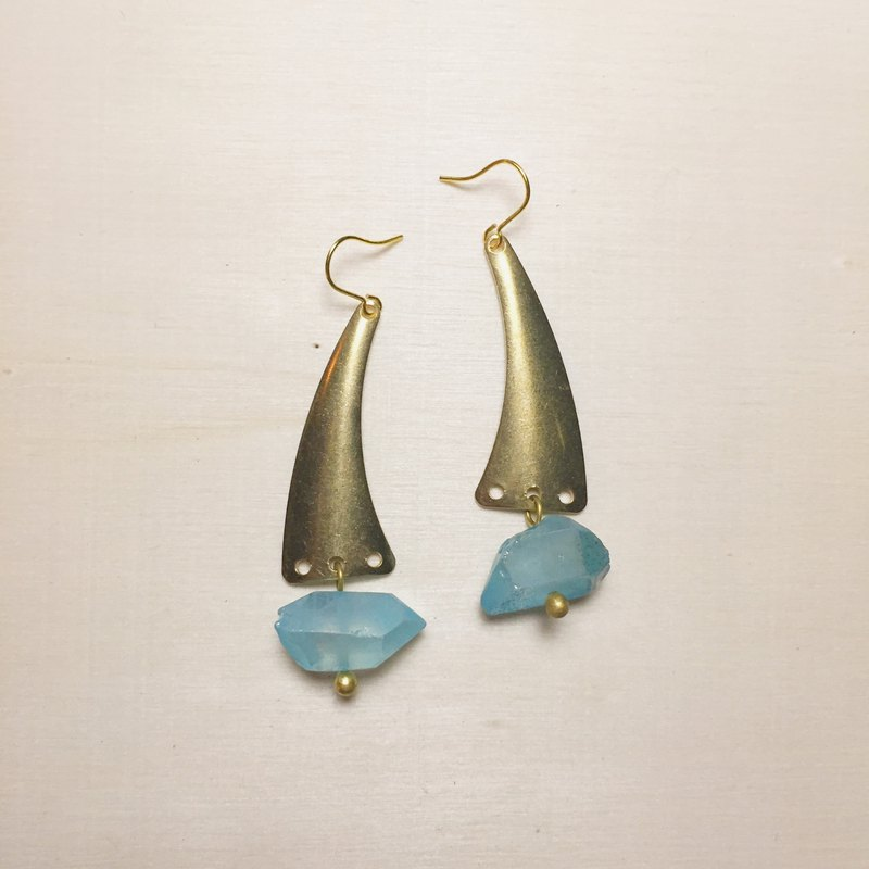 White crystal plated blue whale tail earrings