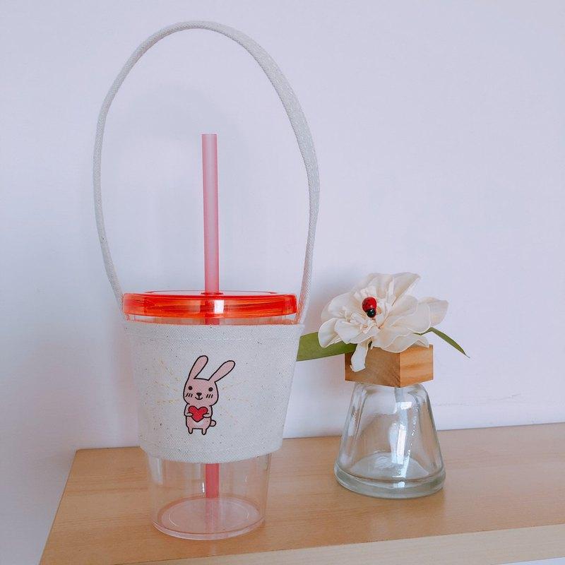 兔子 手繪環保杯袋