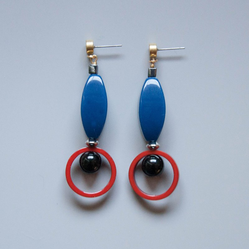 Space Age - Blue and Red Geometric Earrings