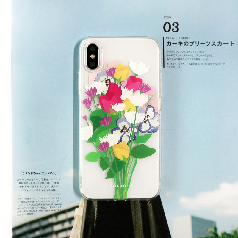 French bouquet transparent phone case