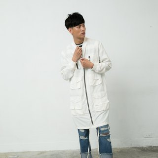 Long baseball jacket pocket (white) # 8601