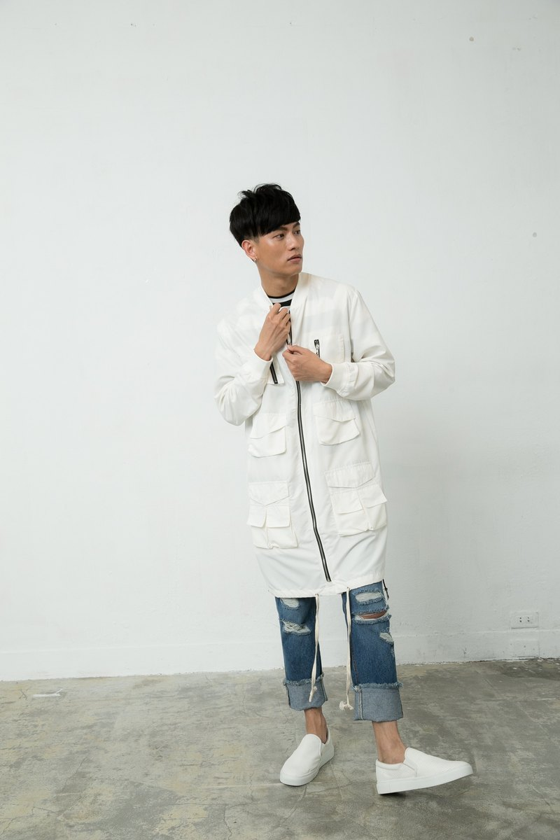 Pocket Long Baseball Jacket (White) 8601