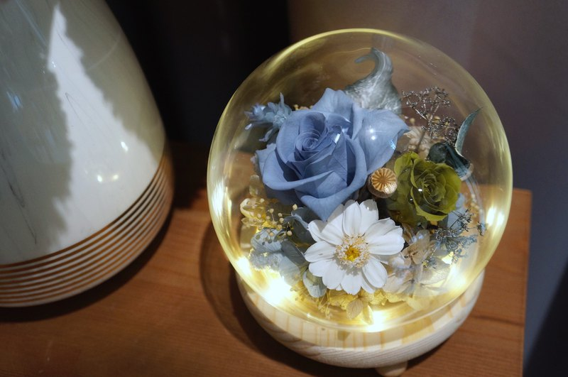 Blue elegant eternal flower glass lampshade