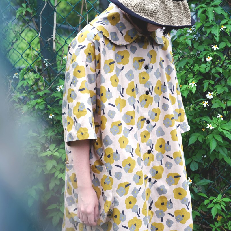 Mustard flower large lapel short shirt dress