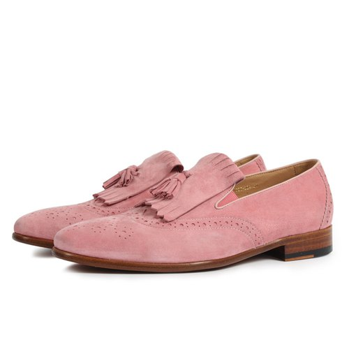 Personalized avant-garde Loafer men's shoes suede pink loafers natural leather custom shoes