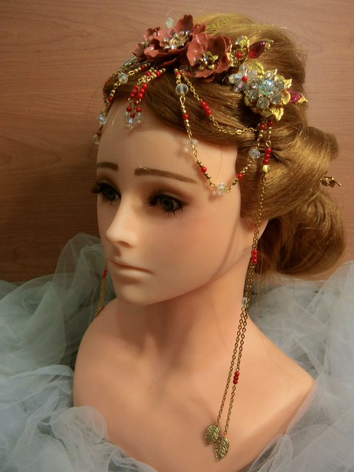 Chinese handmade Fengguan bridal headdress ornaments