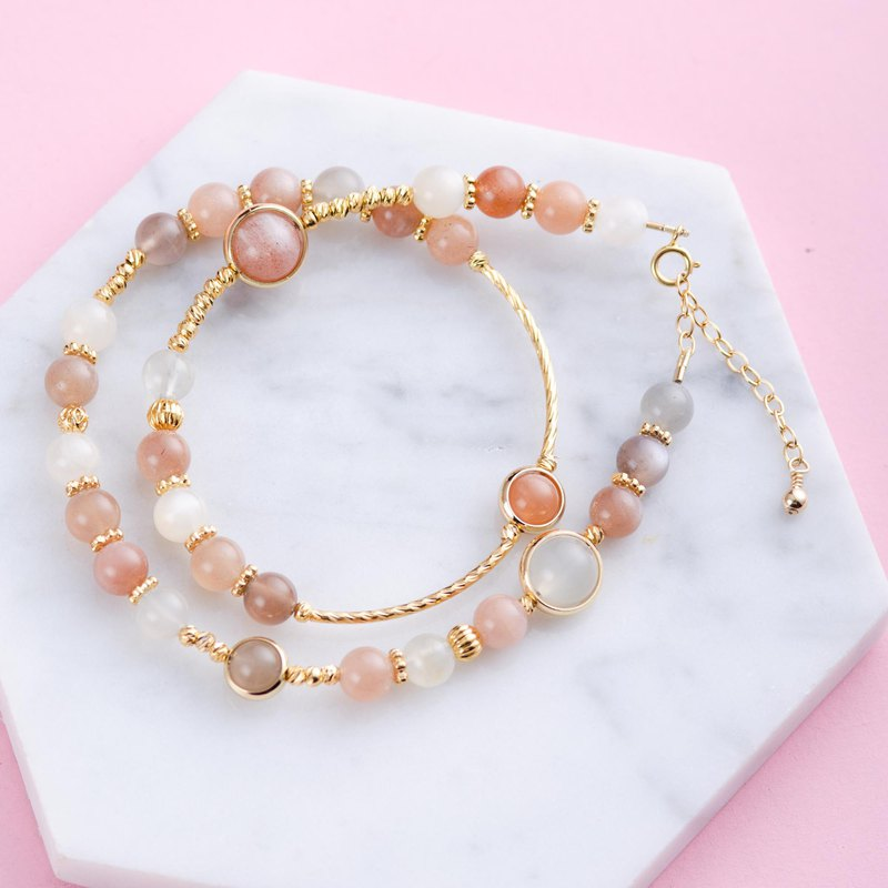 Peach Moonstone Zircon Natural Gemstone Crystal Bracelet