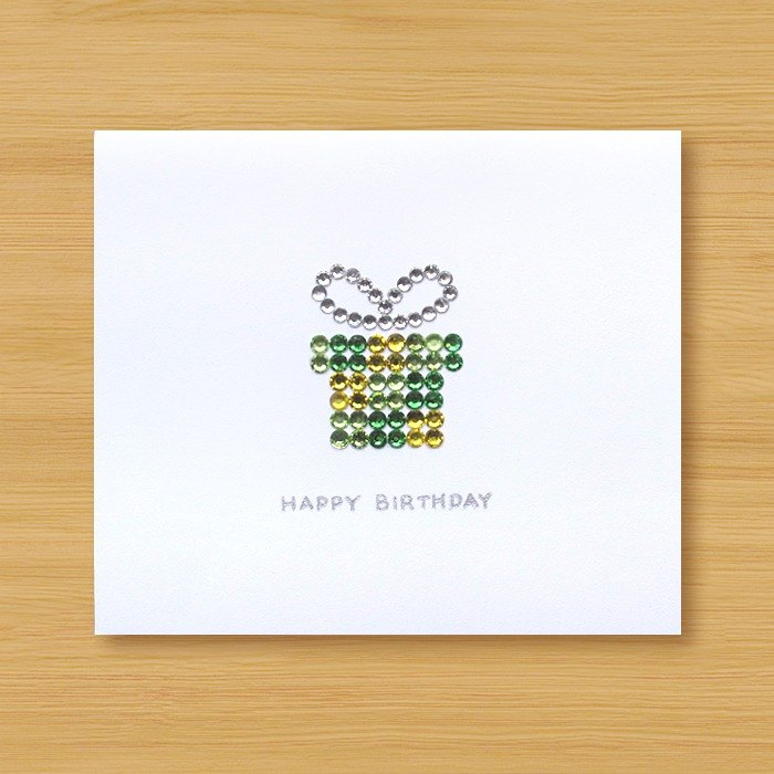 Hand-studded card _ Sparkling gift box _E ... birthday card, thank you card, congratulations card