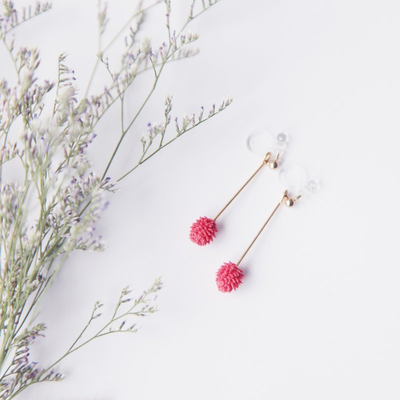NEW / Pink acne thorn pine cone ball drop clip earrings / needle earrings
