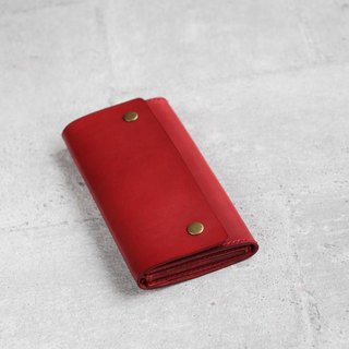 Red vegetable cow hide leather long wallet pouch
