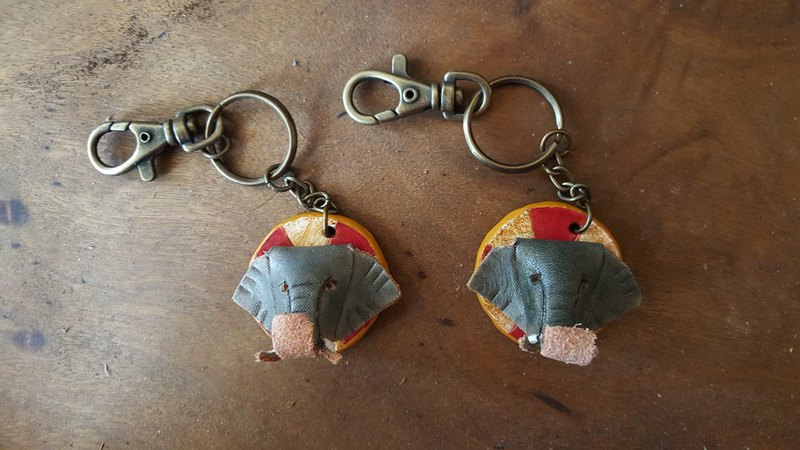 Circus elephant leather key ring - lettering on the back
