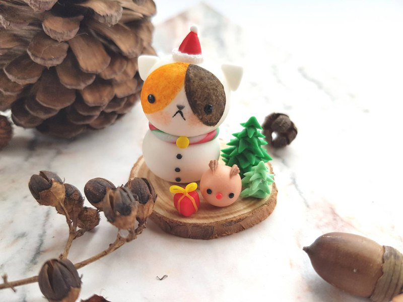 Christmas cat micro scenery-cat snowman (three flowers)