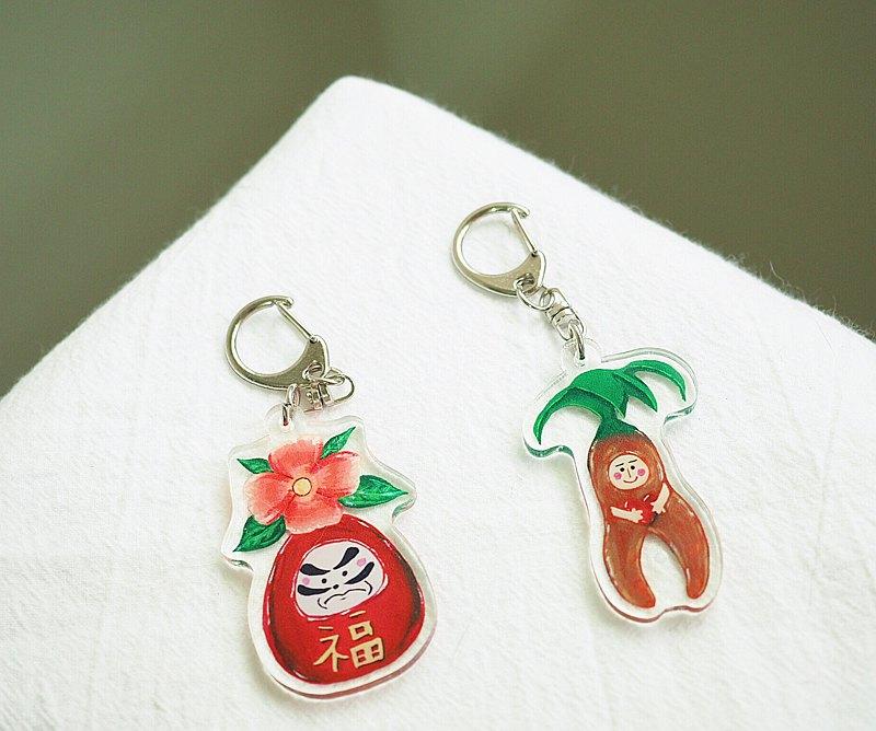 櫻花達摩不倒翁 / 愛的植物精靈 壓克力鑰匙圈