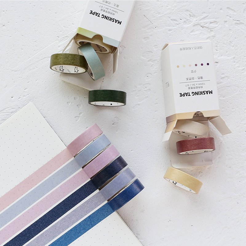 Letter of lovers pure color PDA and paper tape set retro Morandi color hand account DIY decoration 6 pieces into
