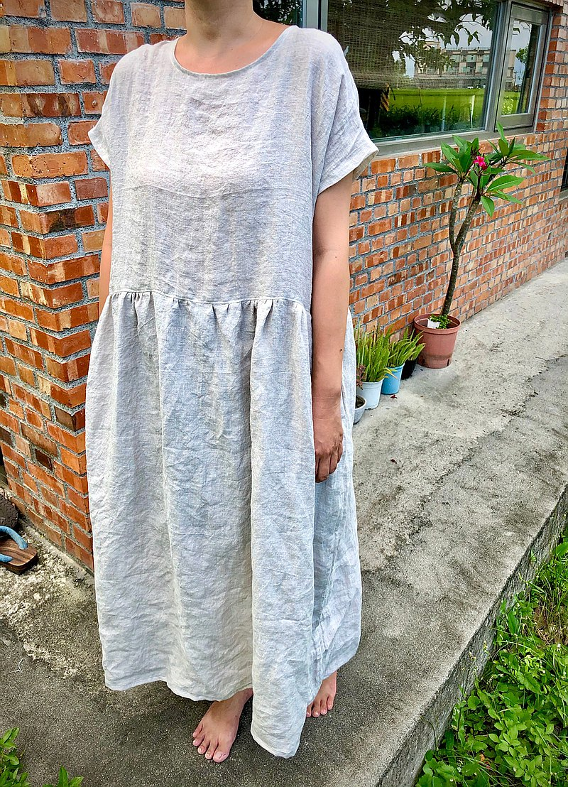 Linen short sleeve pocket stitching long dress