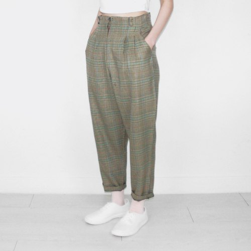 Green brown plaid vintage waist trousers BH1021