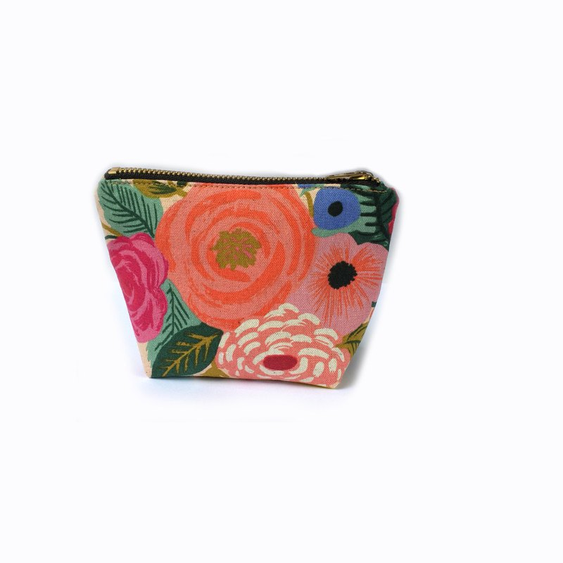 小钱包 Floral Small Zipper Pouch, Rose Garden Prints on Cream