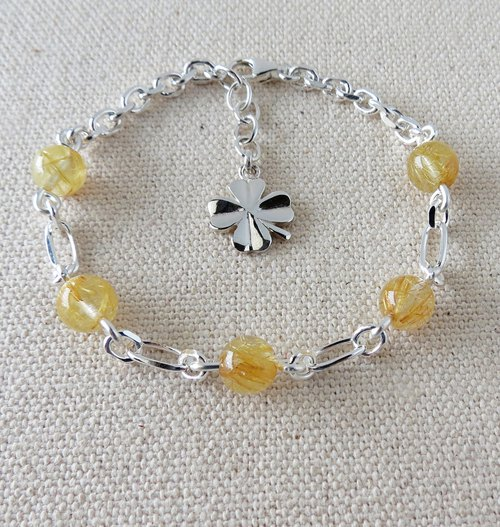 Sterling Silver***Fashion [璀璨 Lucky Clover] Titanium Crystal Bracelet**Anti-villain, Lucky