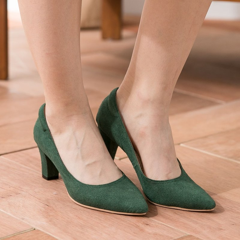 Maffeo high heels tip shoes micro-sexy tip US imports of suede high heels silent leather (831 dark green)