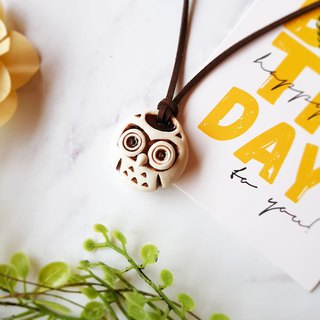 B-35 Owl Necklace│Yoshino Hawk x Charm Pure hand-made design Ceramic key ring Healing lovely unique gift