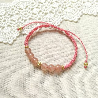 BUHO hand-made. Cherry blossom season. Strawberry Crystal X South American Brazilian Wax Line Bracelet