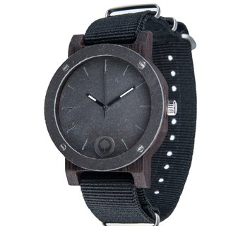 Plantwear European Handmade Wood Watch -Raw Series - Silverstone Mini - Ebony Wood