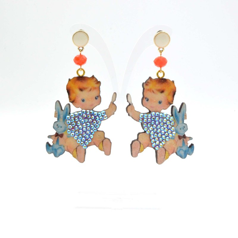 Retro style angel doll wood chip ear surround crystal stone lace American custom laser cutting can be customized