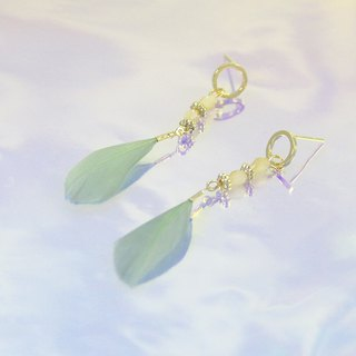 Jade Bird Feather Silver Earrings (in pairs)