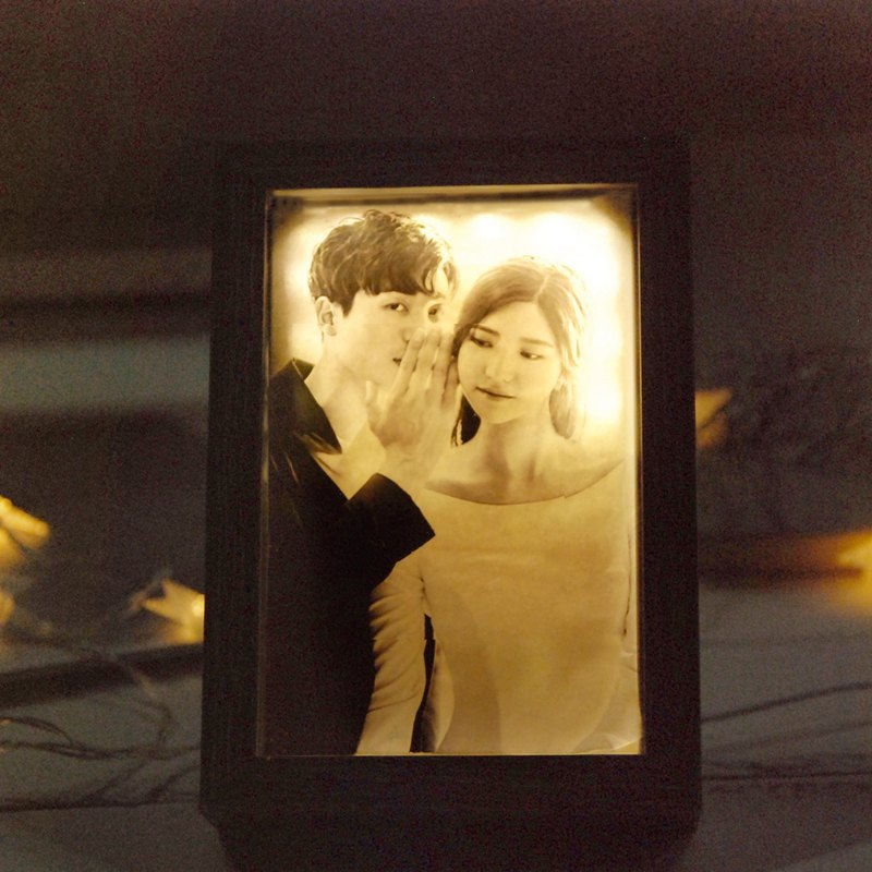 Happy Time Photo Frame Light / Customized Your Photo Valentine's Day / Birthday / Wedding Gift / Graduation