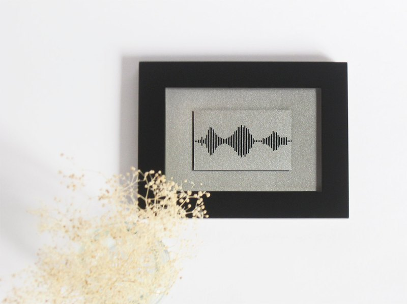 Small Framed Print - I Love You Soundwave Art, Black and Silver Mountain Reflection Landscape, Visible Voice Gift for him, - 3.5 x 5 inch, Small Things Great Love series, Silver