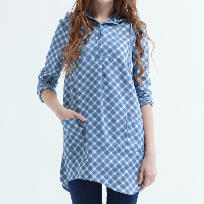 Women's Checkered Shirt Dress With Detachable Hood,Flannel Shirt - Blue