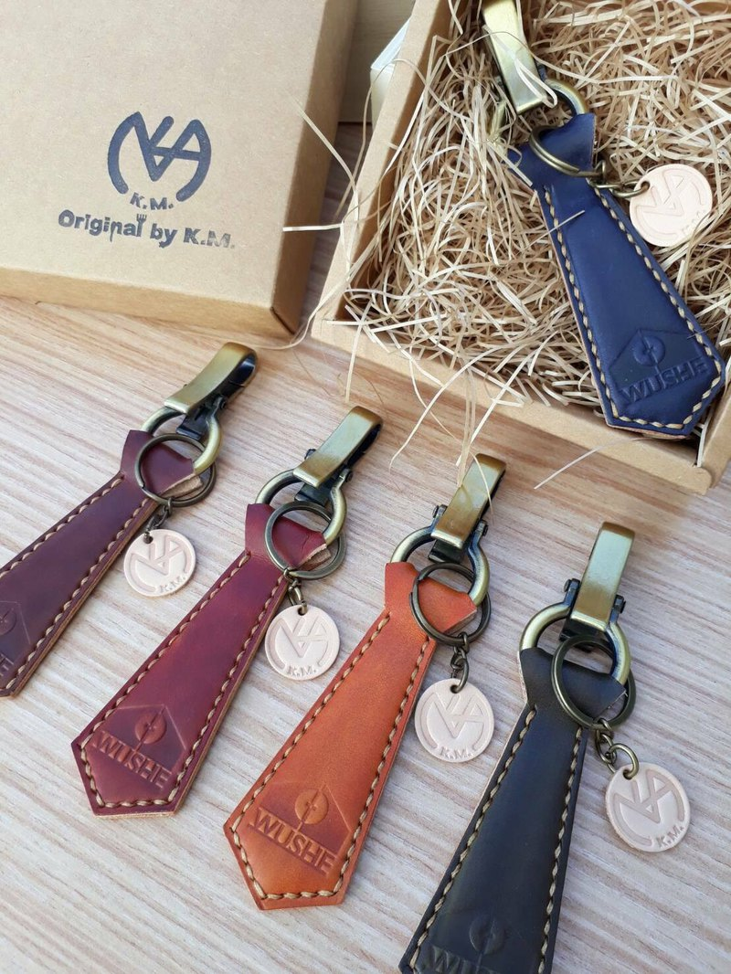 Tie key ring (gentleman models) │ leather molding production Italian vegetable tanned leather hand-dyed colored copper hardware can be imprinted (10 characters)