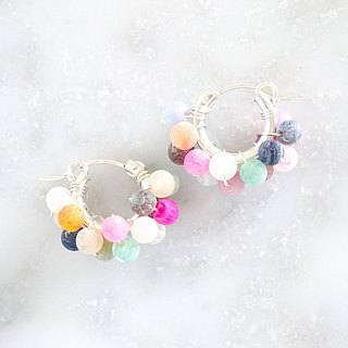 SV925SF*mix Agate wrapped hoop pierced earring / earring