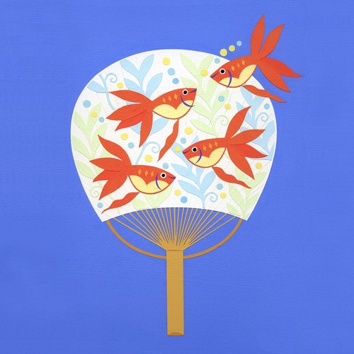 Goldfish Fest minoru furuse Illustration japan Illustration original stencil handmade