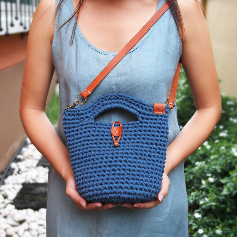 Handmade dark blue/navy crochet bag (t-shirt yarn) with brown tan leather strap