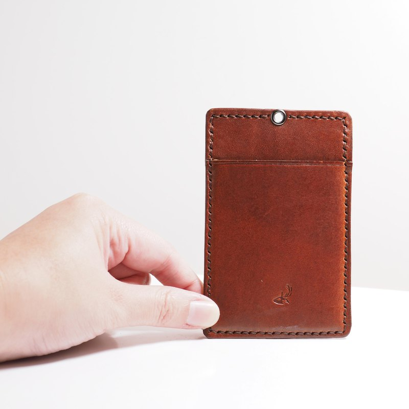 Leather ID pouch - Brandy Brown