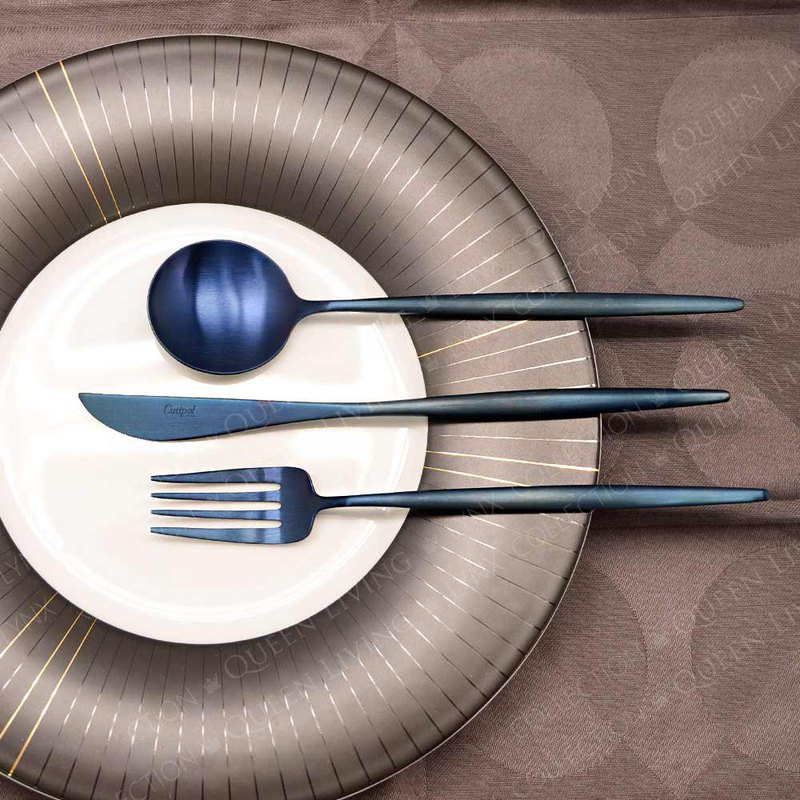 MOON  MATTE BLUE 3 PIECES SET (TABLE KNIFE/FORK/SPOON)