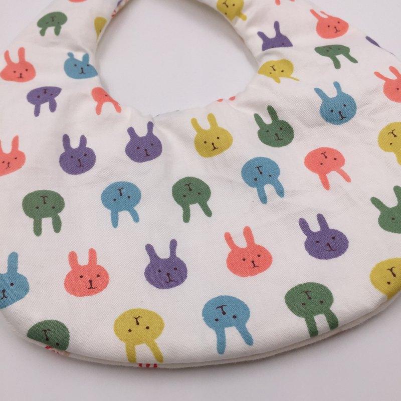 可愛兔兔圍兜 二重紗 口水巾 設計款 彌月禮