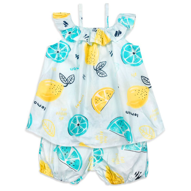 Lantern pants thin shoulder strap lotus leaf collar off the shoulder small dress suit children's clothing lemon Lemon