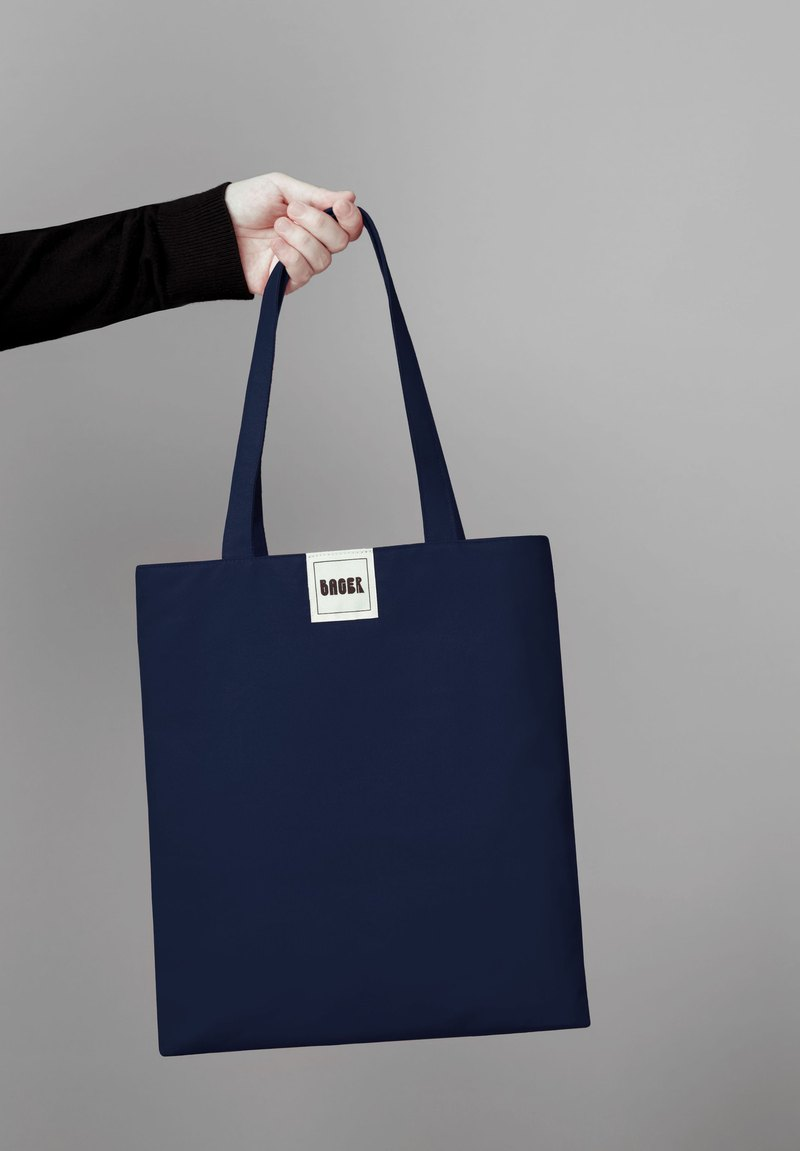 Non-printing minimalist plain shoulder canvas bag (middle) / Tibetan blue