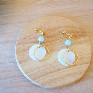 Anniewhere | Geometry | Tianhe Stone Round Shell (can be changed without pierced ears)