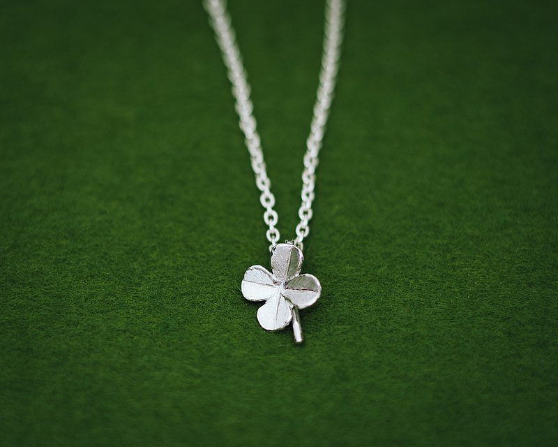 Platinum Clover pendant - Japanese jewelry - gift for her - Four leaf clover