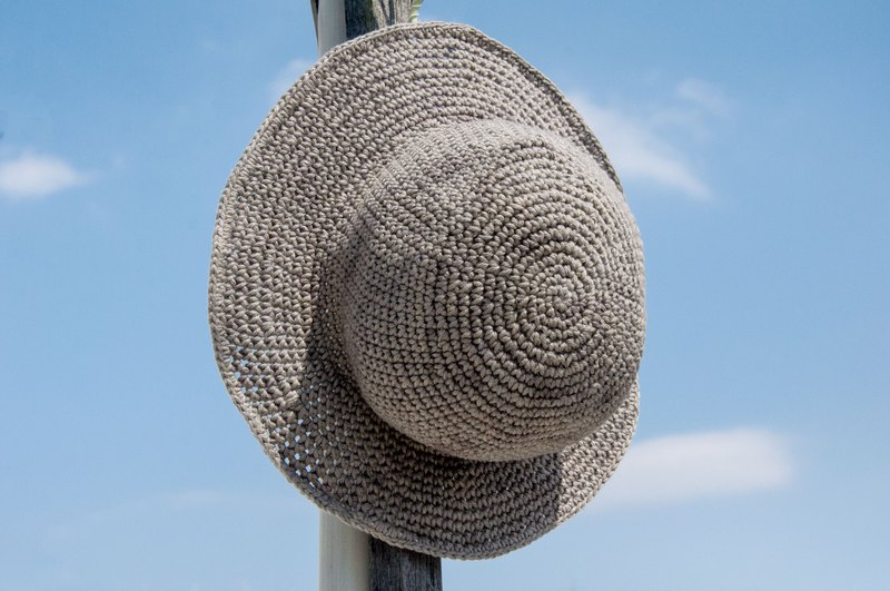Crocheted cotton and linen hat hand-woven hat fisherman hat visor straw hat straw hat - original summer stone