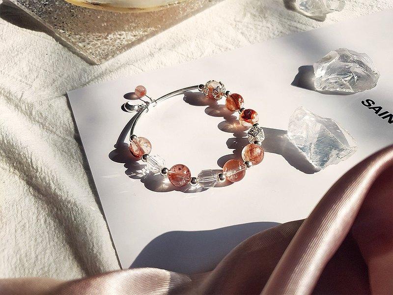 烈焰紅唇  925純銀彩虹紅膠花白水晶設計款手環