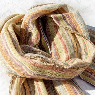 Hand-woven pure silk scarves, hand-woven fabric scarves, hand-woven scarves, cotton and linen scarves - rainbow colored stripes