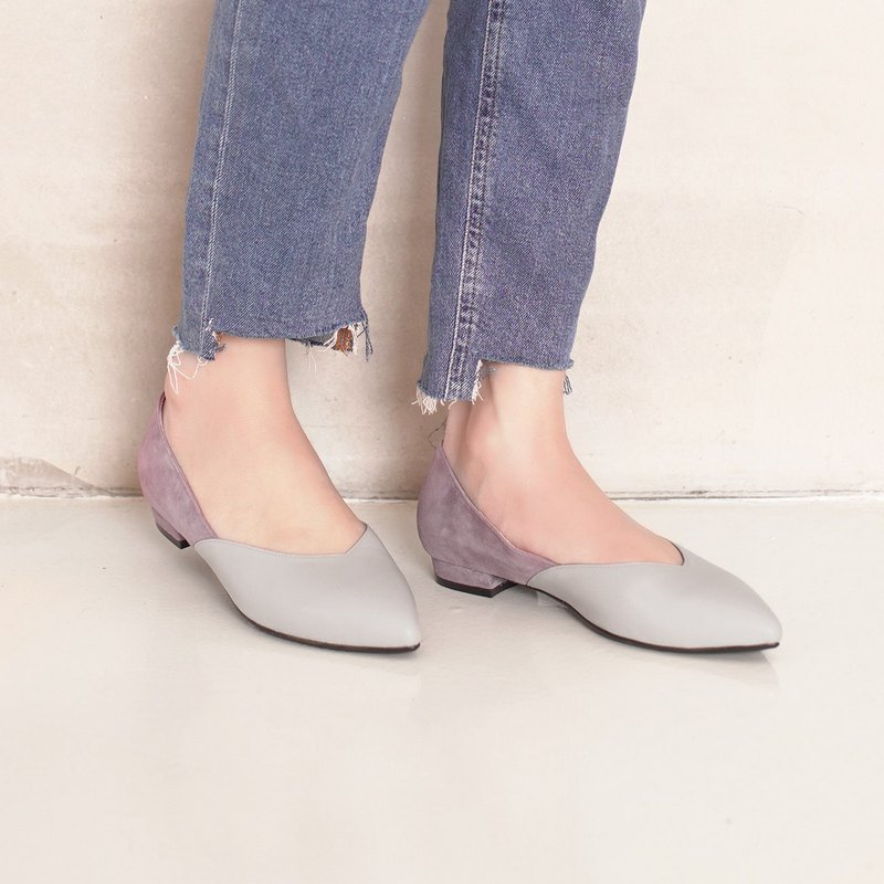 Thin pedicure! Elegant velvet two-color flat shoes full leather MIT-m × purple