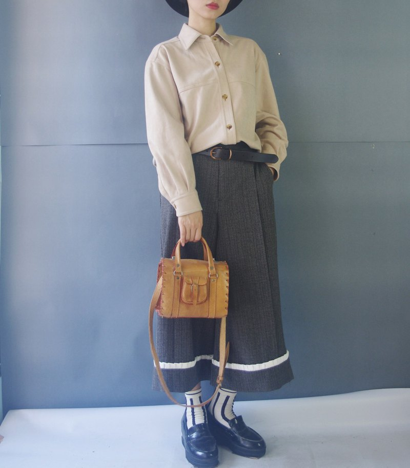 Design hand made - neutral dark gray plaid discounted lotus leaf pants wide pants